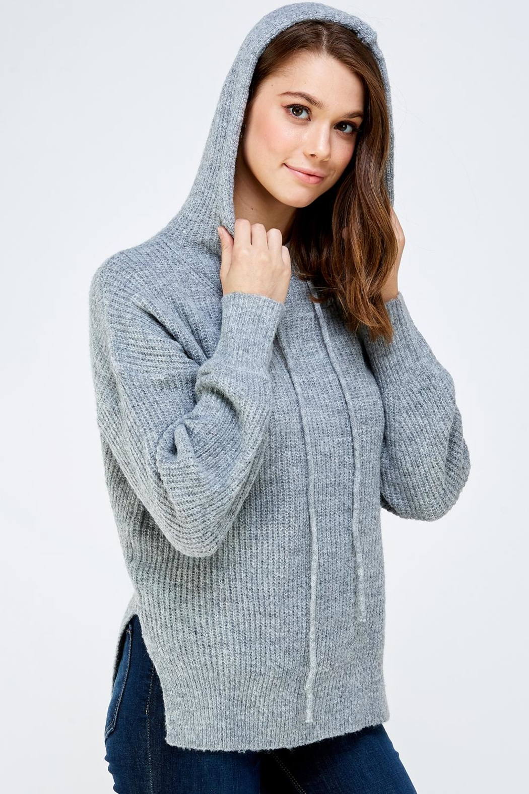 A Peach Soft Knitted Sweater - Back Cropped Image