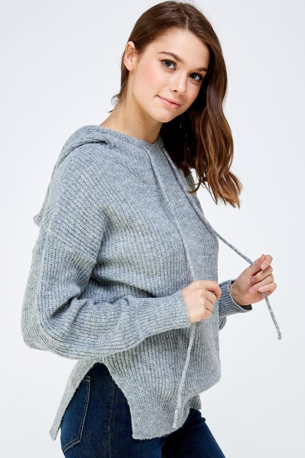 A Peach Soft Knitted Sweater - Front Full Image