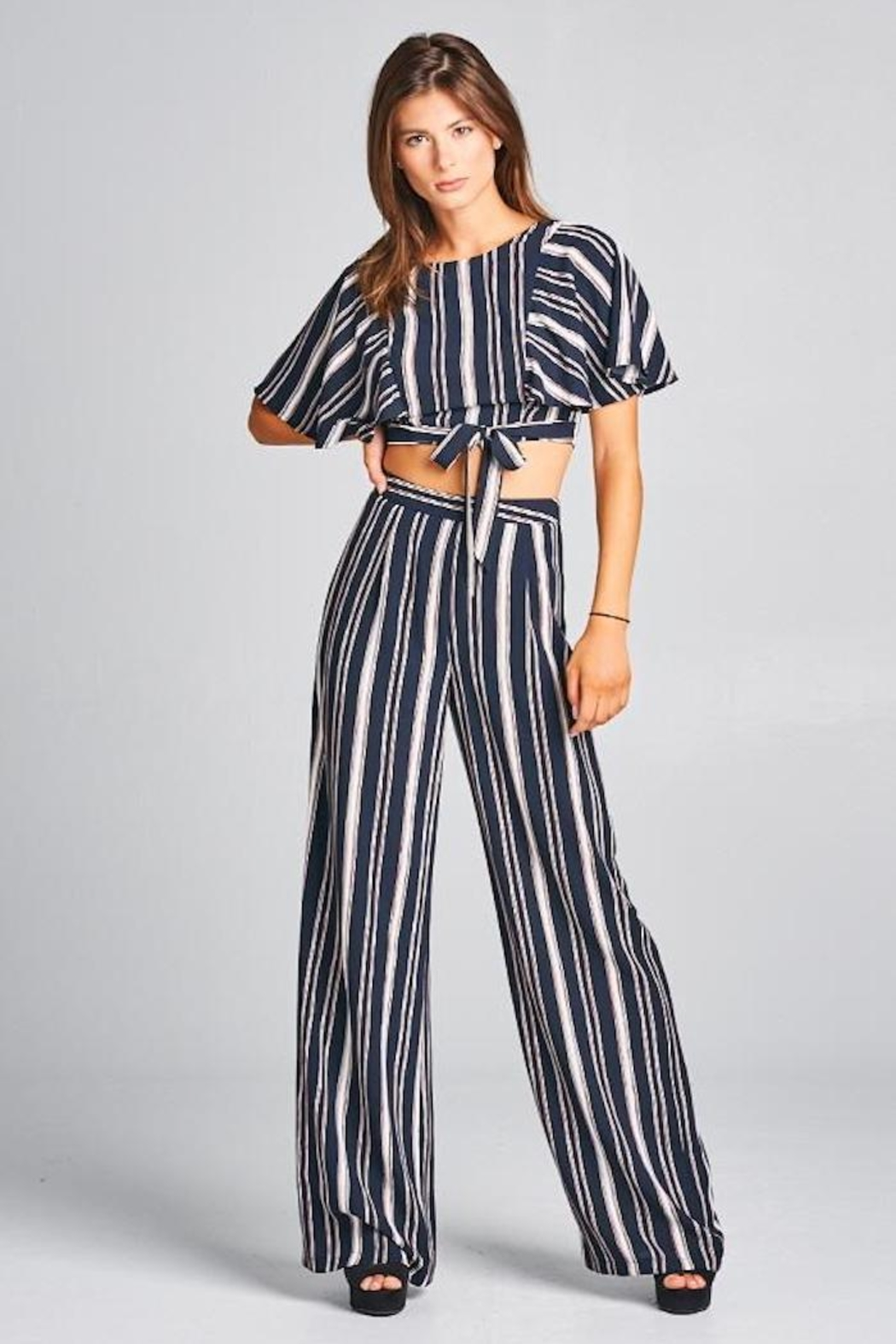 A Peach Striped Pant Set - Main Image