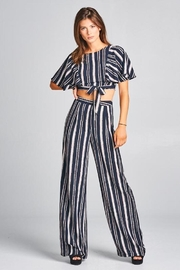 A Peach Striped Pant Set - Front cropped
