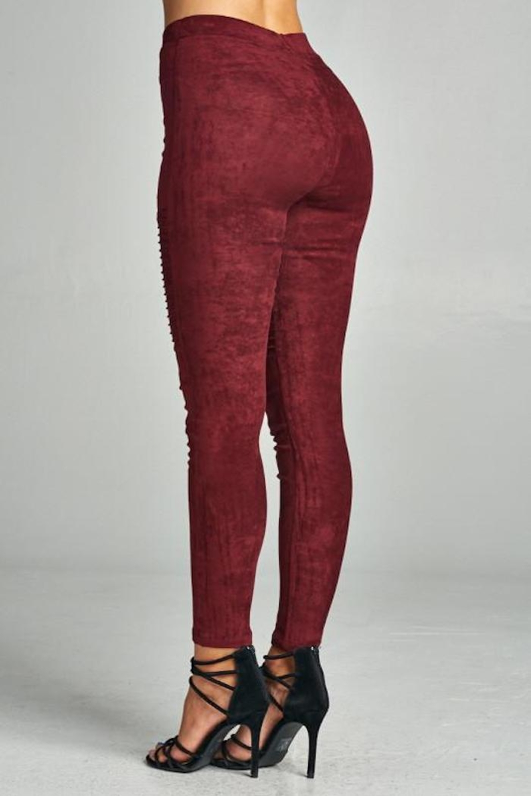 A Peach Suede Moto Legging - Back Cropped Image
