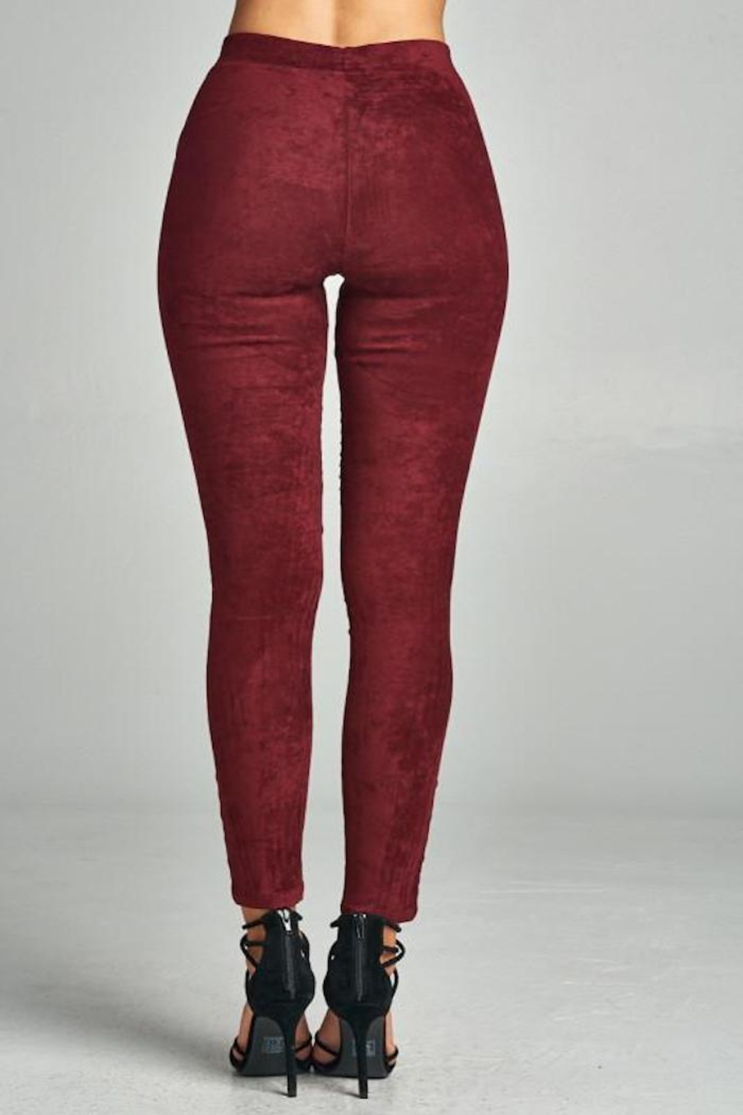 A Peach Suede Moto Legging - Side Cropped Image