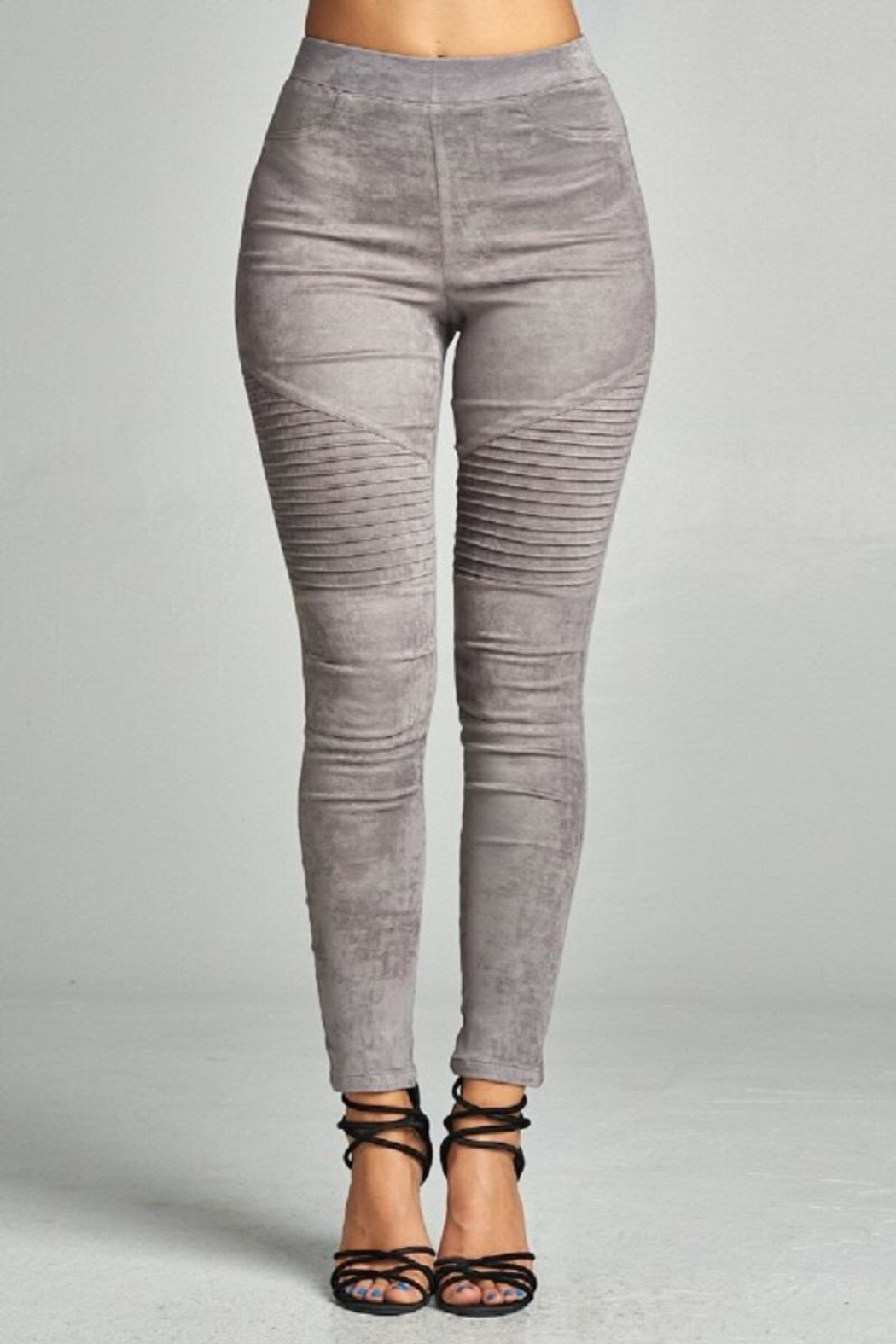 A Peach Suede Moto Legging - Front Cropped Image