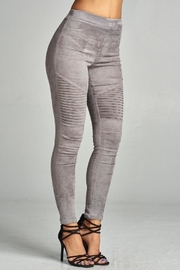 A Peach Suede Moto Legging - Front full body