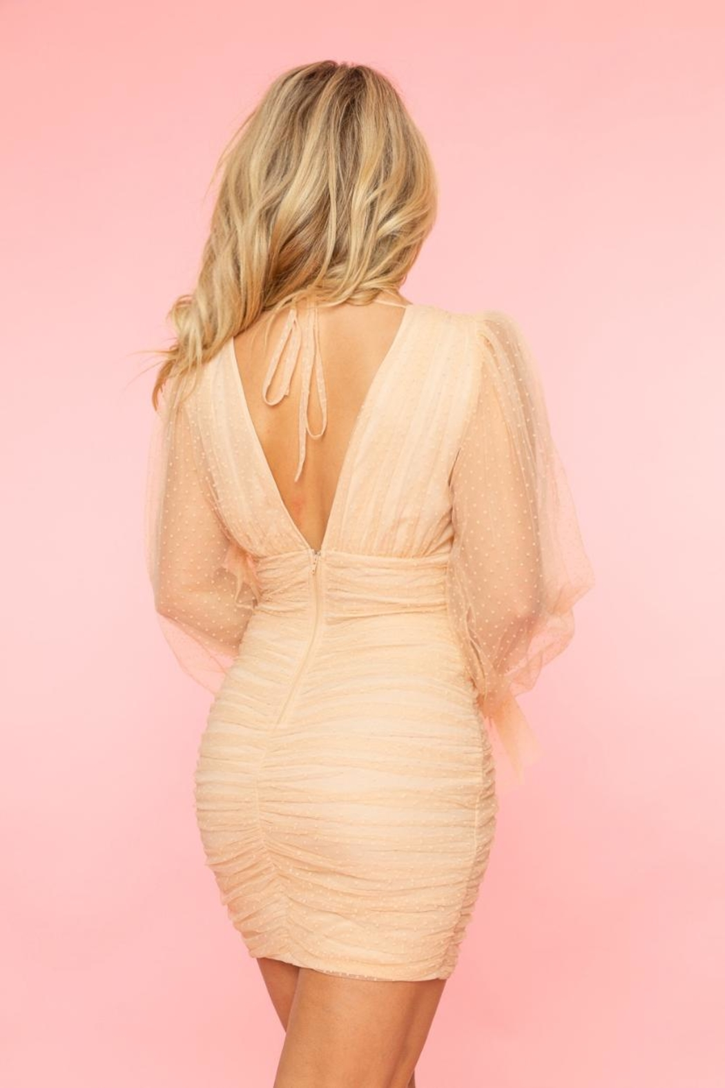 A Peach Swiss Dot Dress - Side Cropped Image