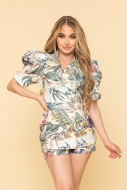 A Peach Tropical Shorts Set - Front cropped