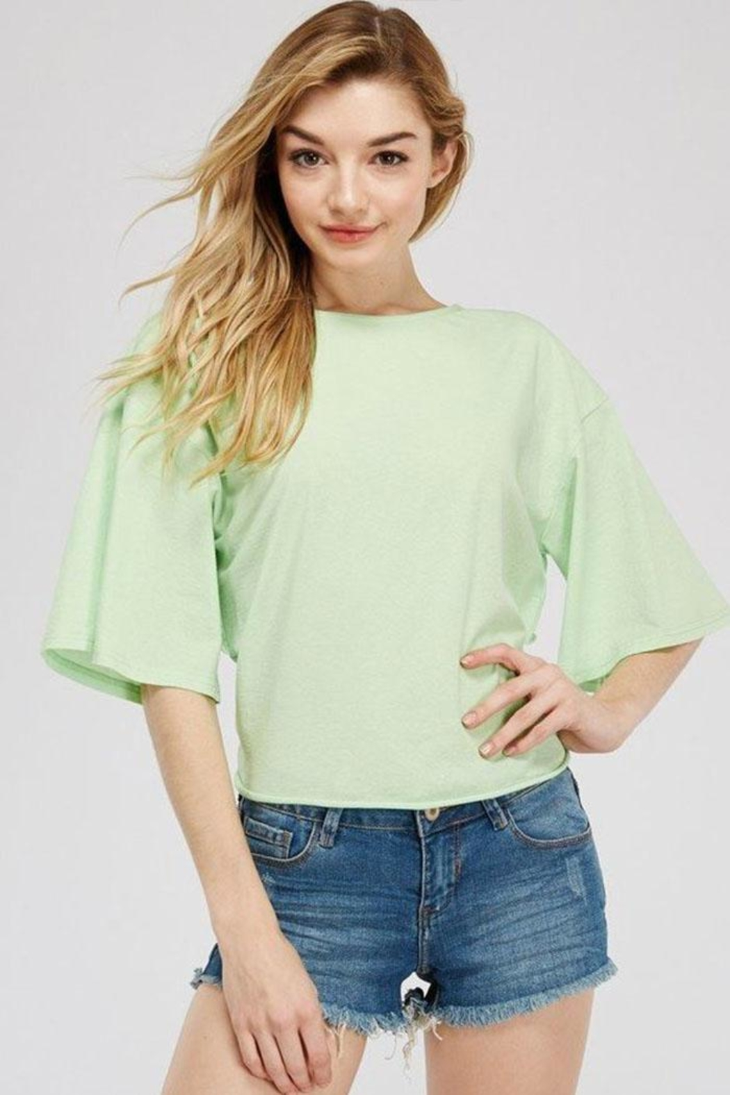 A Peach Twist Back T-Shirt - Front Cropped Image