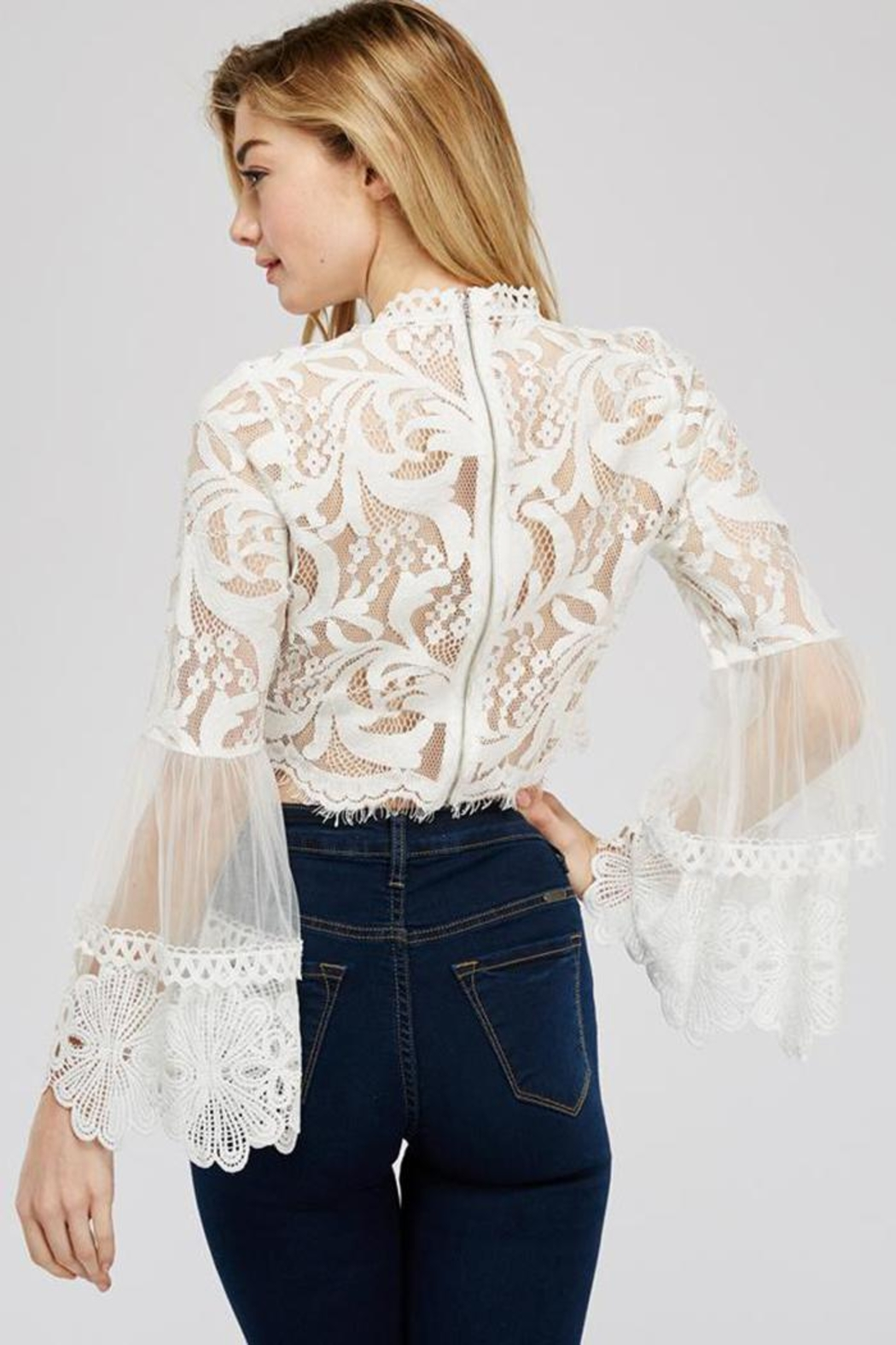 A Peach White Lace Blouse - Front Full Image