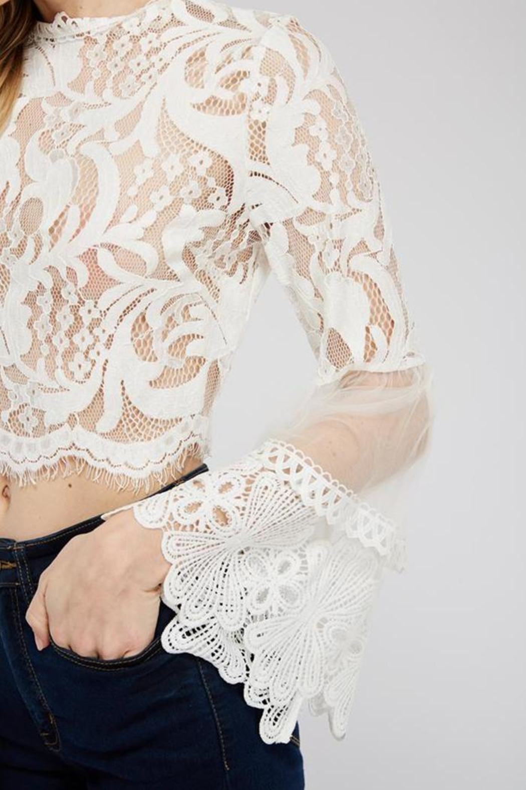 A Peach White Lace Blouse - Side Cropped Image