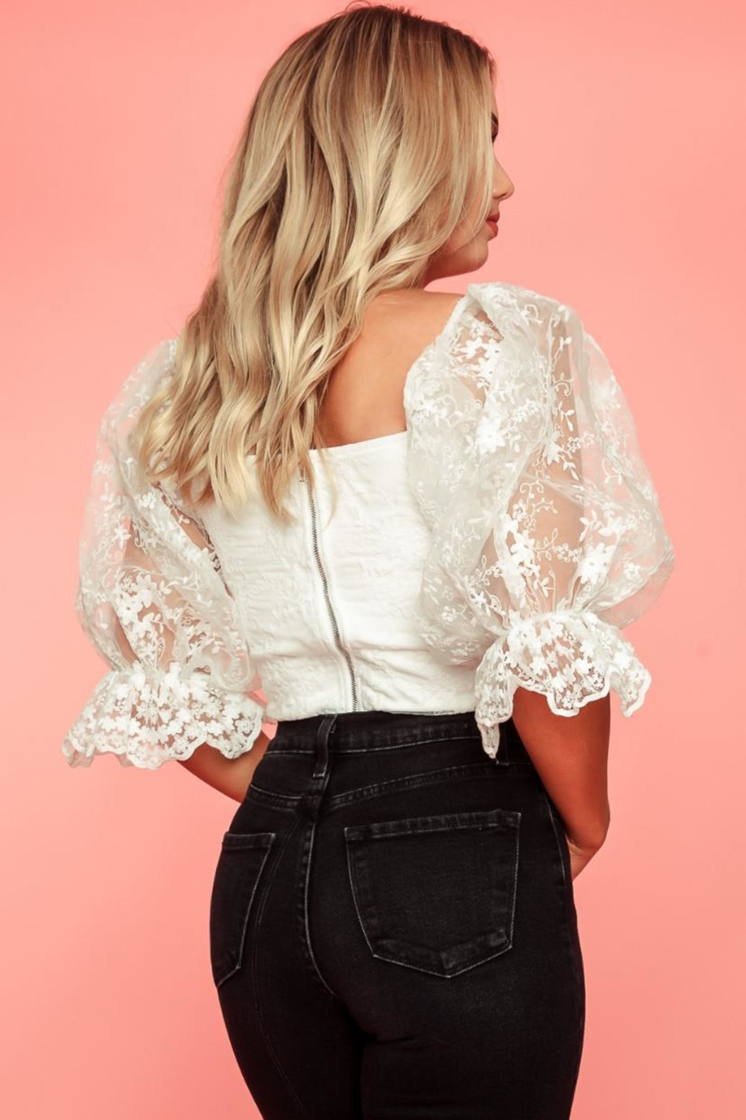 A Peach White Lace Top - Side Cropped Image