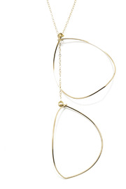 Zia Open Leaf Gold Lariat - Back cropped