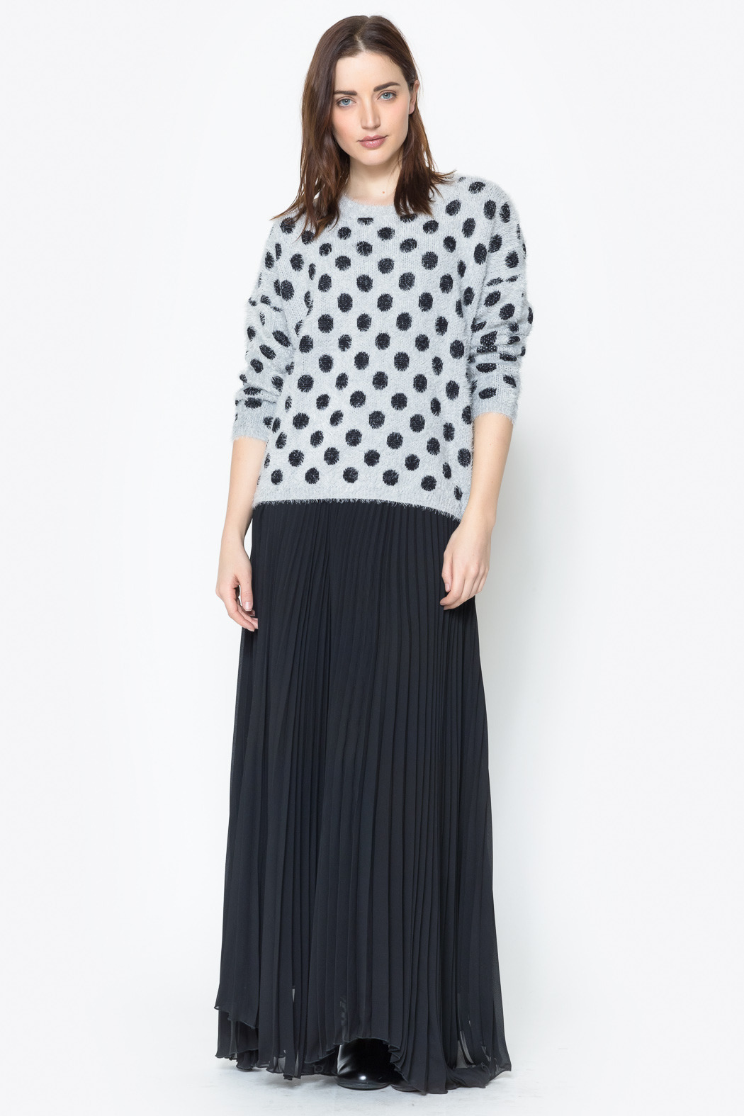 See You Monday Accordian Pleat Maxi Skirt - Back Cropped Image
