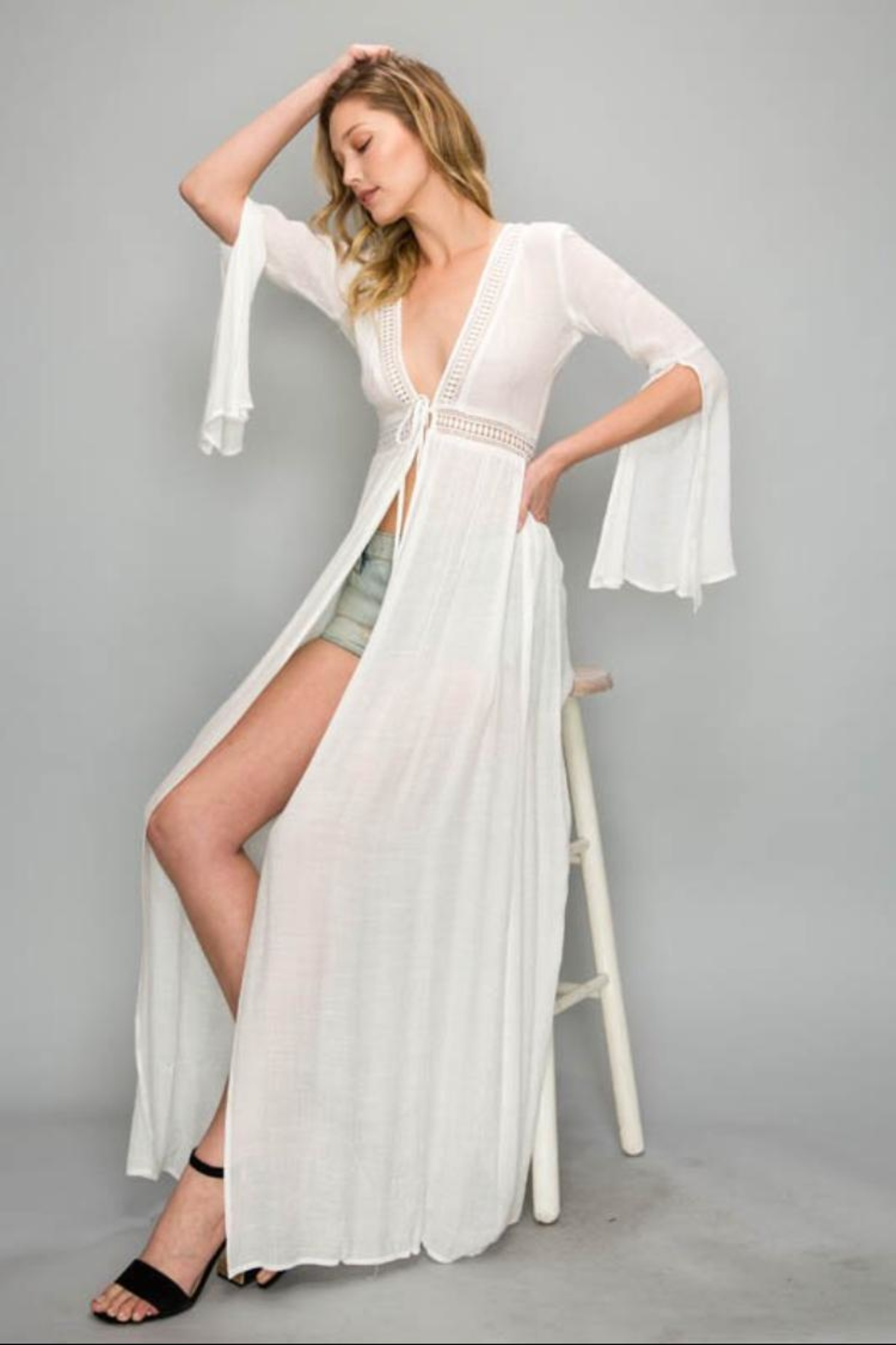 AAKAA Bell-Sleeve Cover-Up Dress - Front Cropped Image