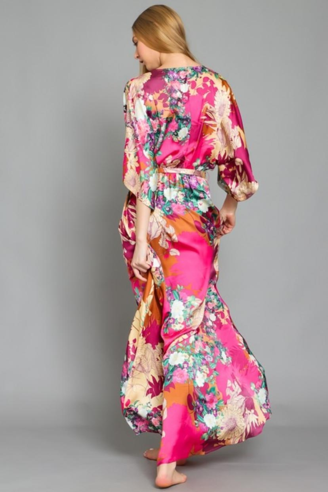 AAKAA Belted Kimono Maxi - Side Cropped Image