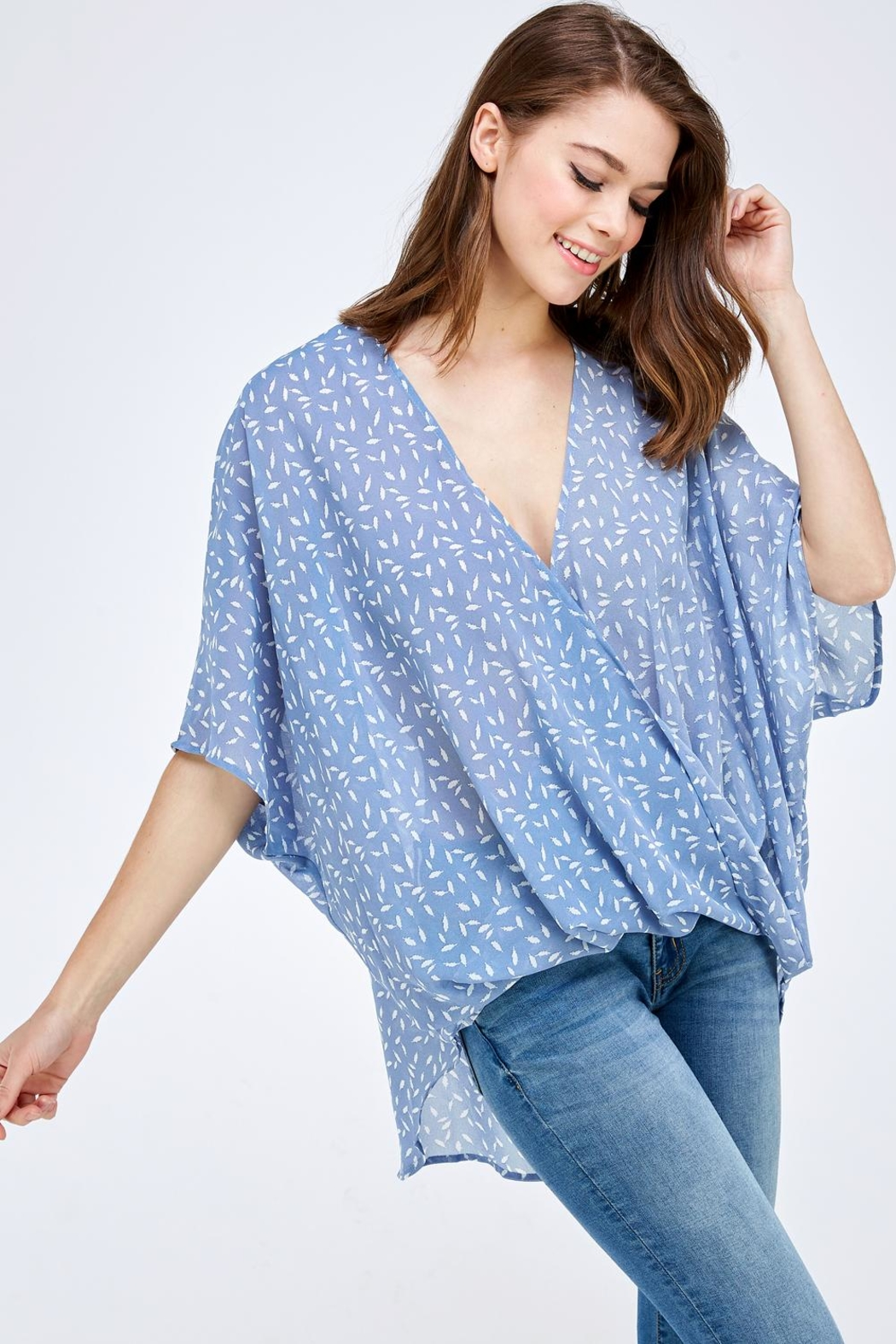 AAKAA Blue Surplice Top - Side Cropped Image