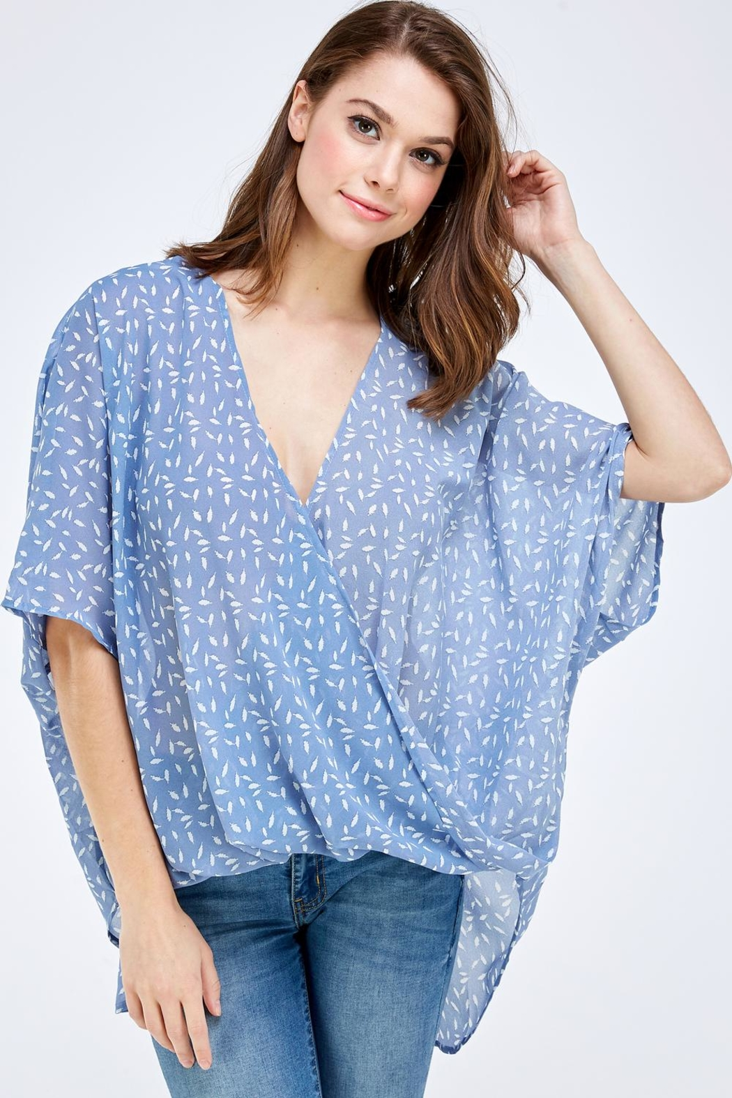 AAKAA Blue Surplice Top - Front Cropped Image