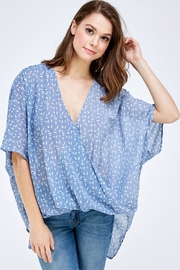 AAKAA Blue Surplice Top - Front cropped