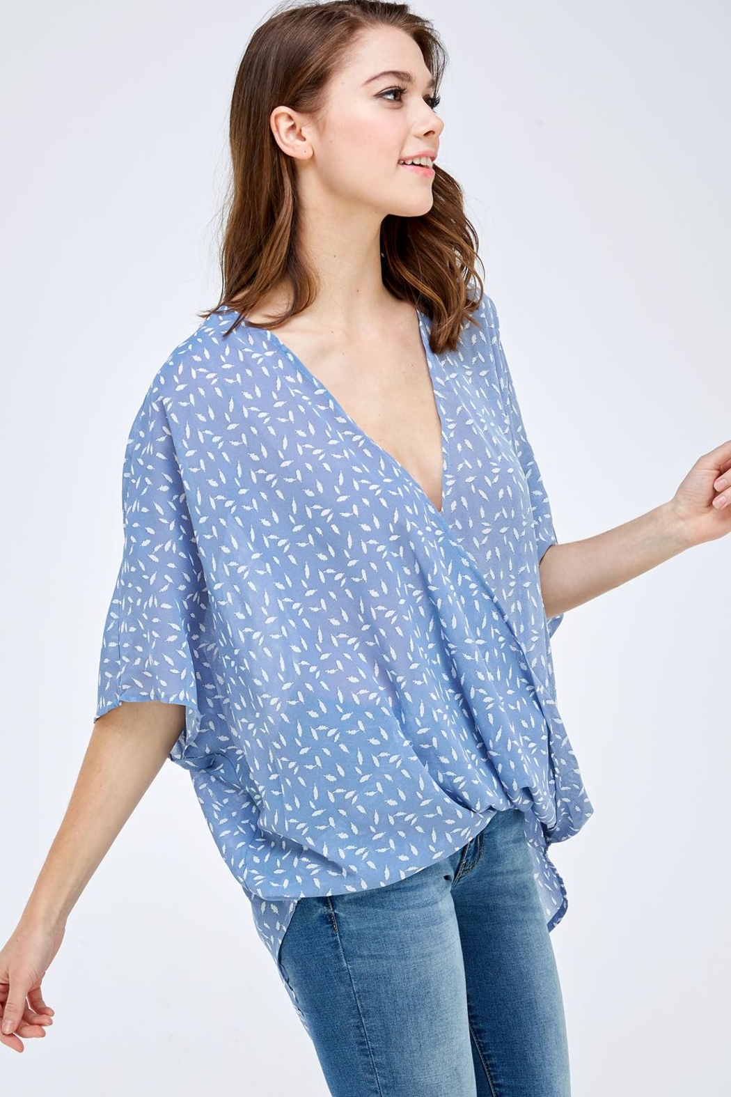 AAKAA Blue Surplice Top - Back Cropped Image