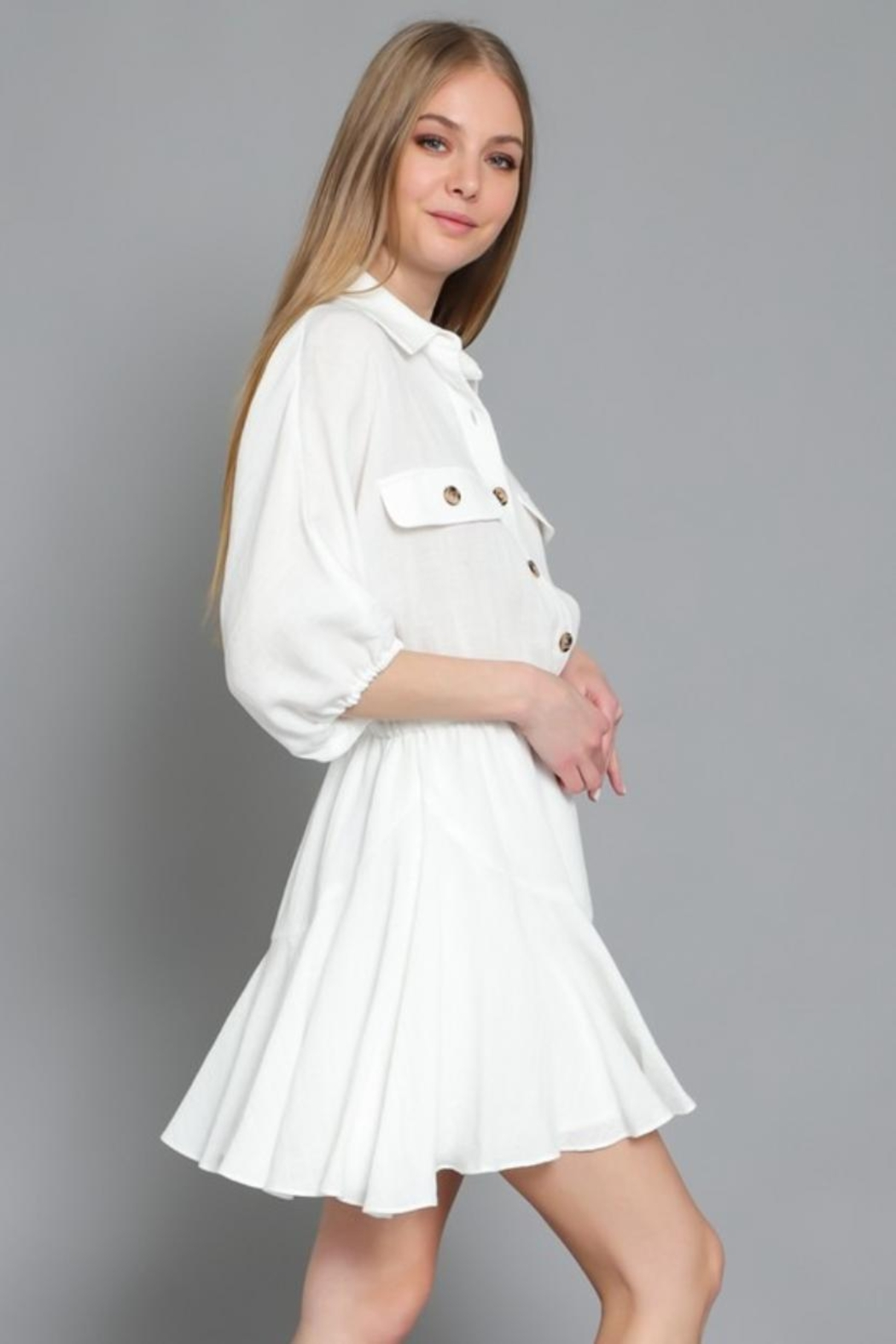 AAKAA Button Down Dress - Front Full Image