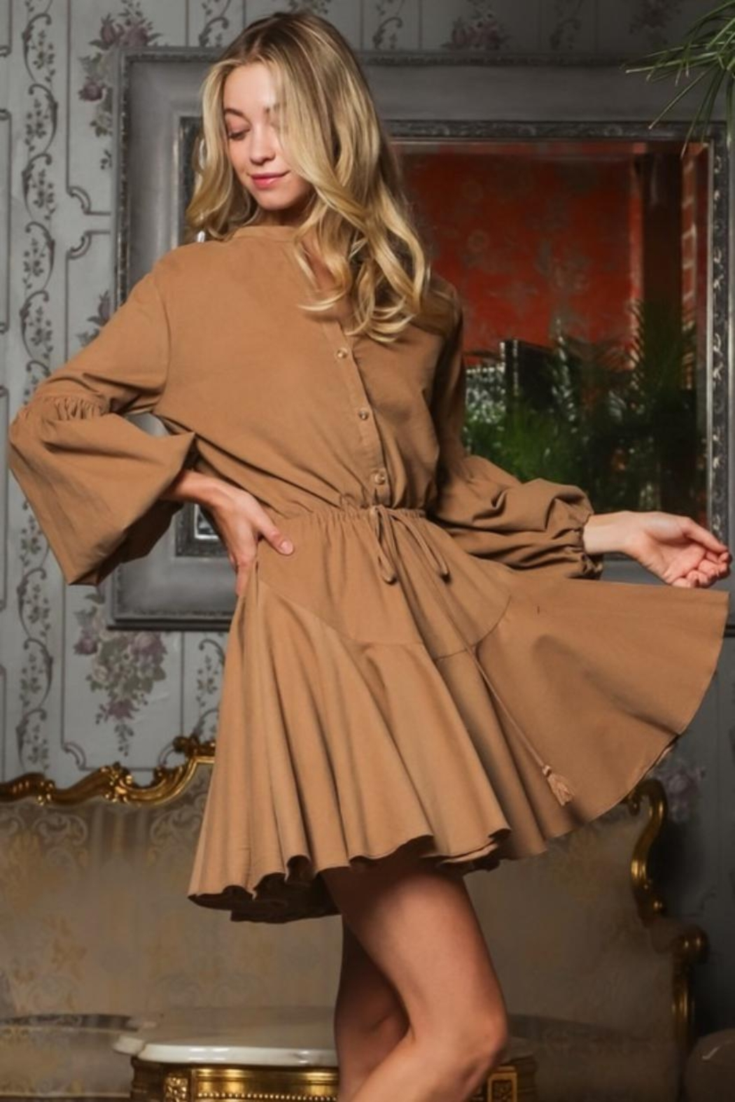 AAKAA Button-Down Mini Dress - Front Full Image