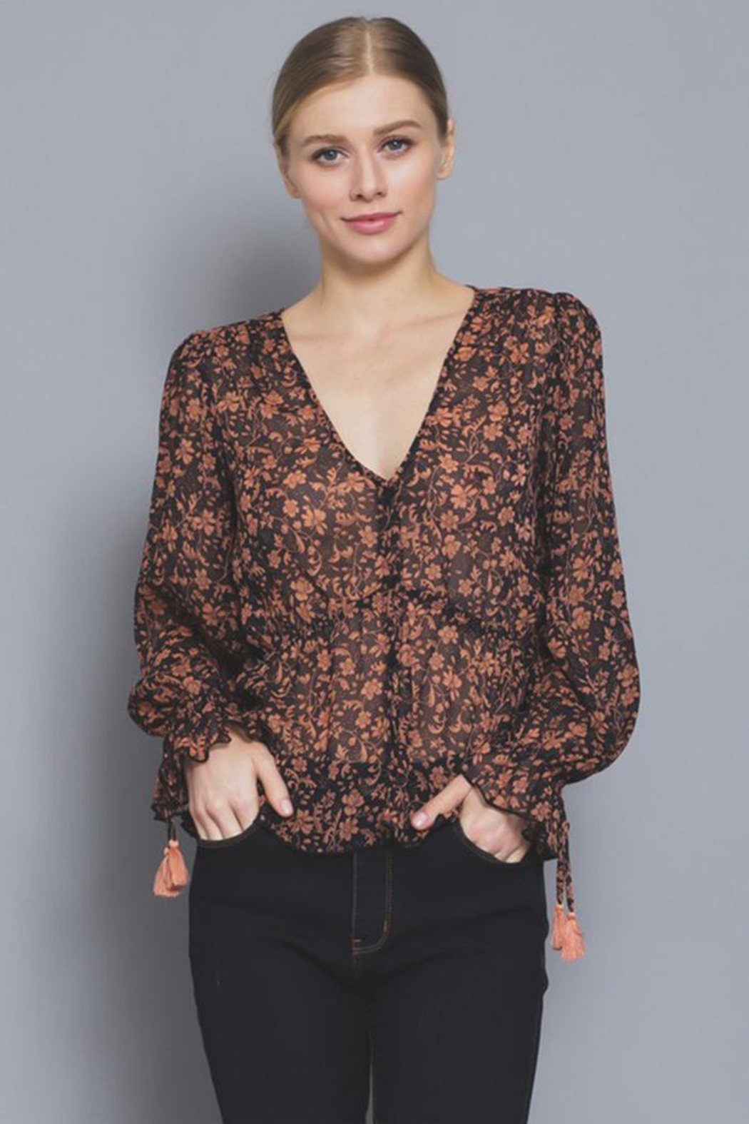 AAKAA Button Floral Blouse - Main Image