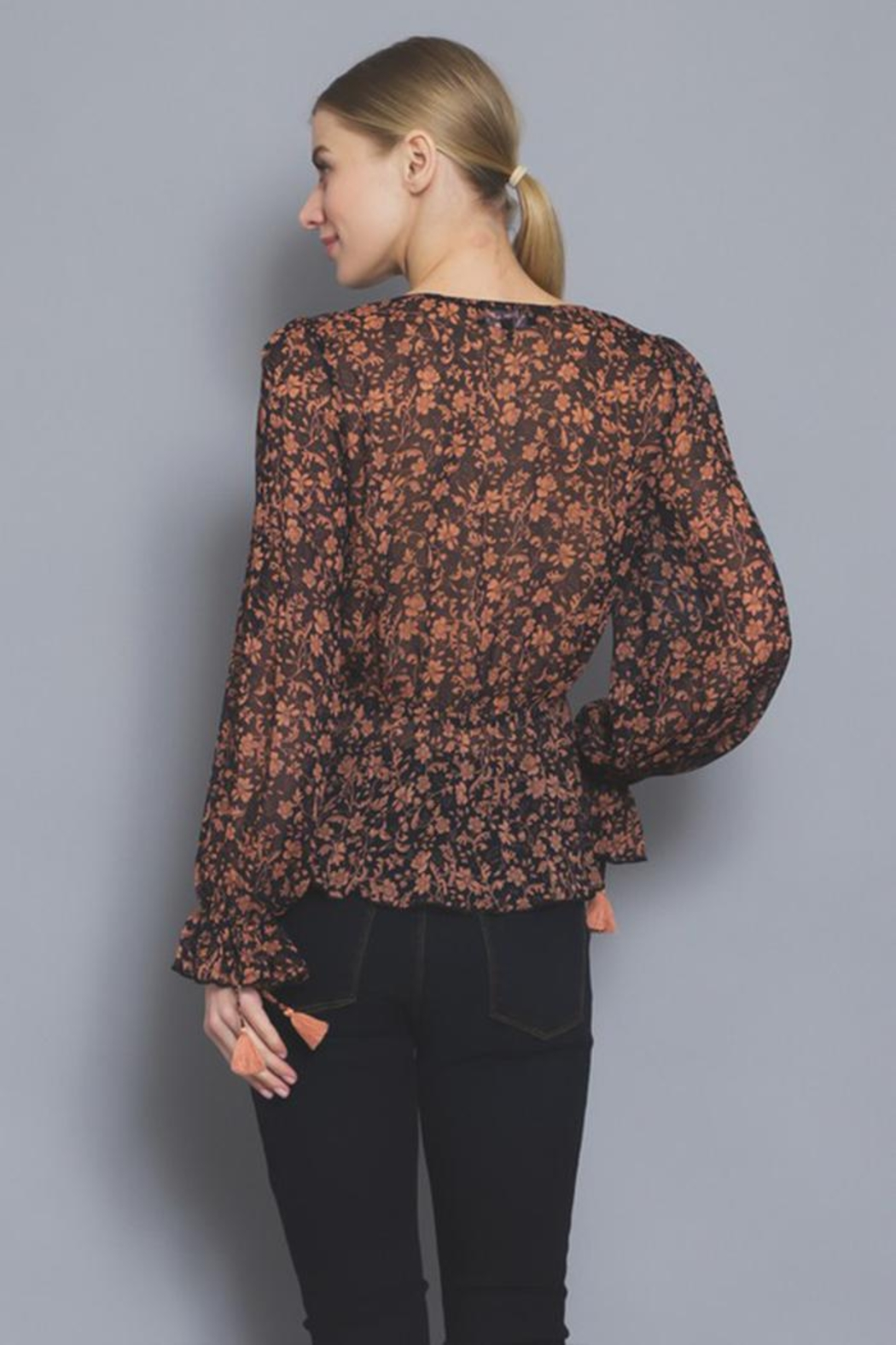 AAKAA Button Floral Blouse - Back Cropped Image