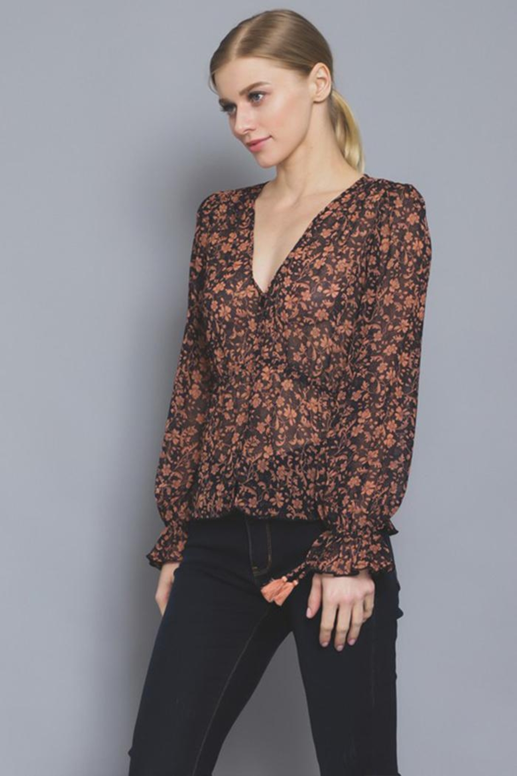 AAKAA Button Floral Blouse - Front Full Image