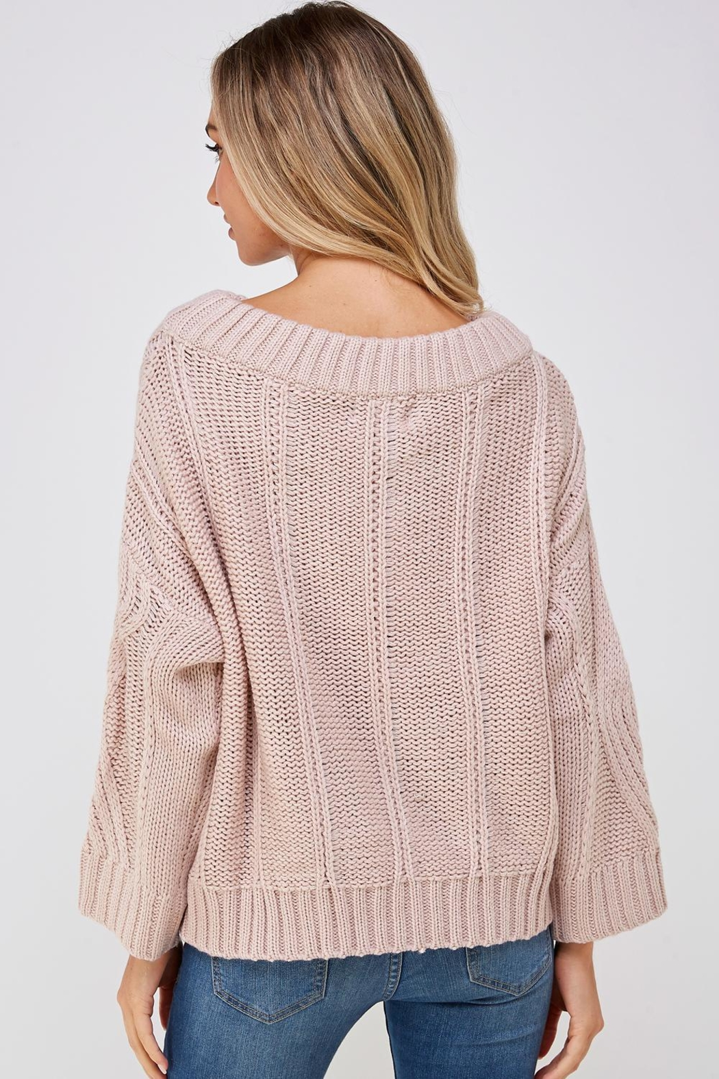 AAKAA Cable Knit Sweater - Back Cropped Image