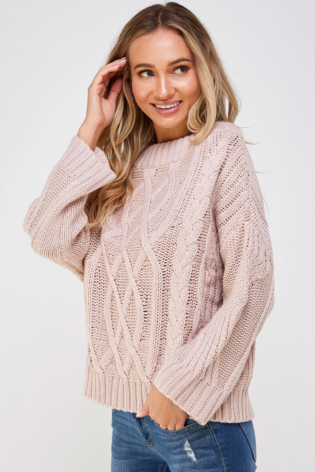 AAKAA Cable Knit Sweater - Side Cropped Image