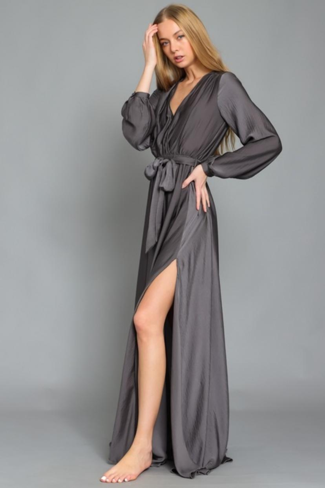 AAKAA Charcoal Maxi Dress - Front Full Image