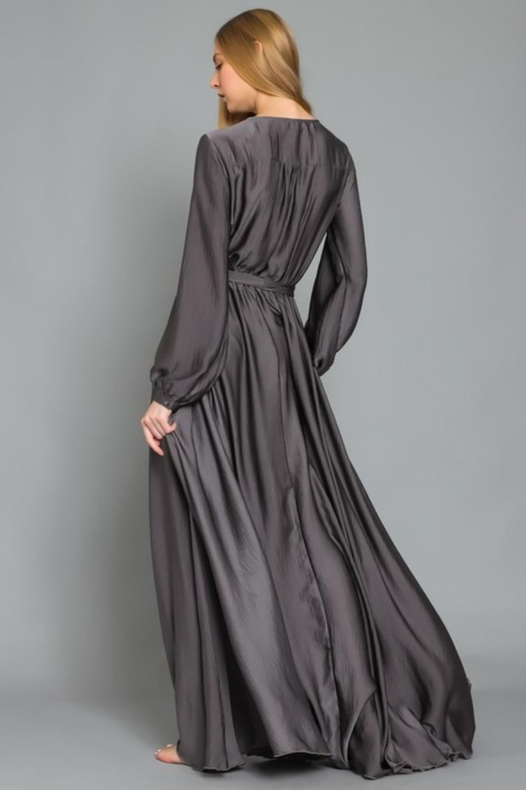 AAKAA Charcoal Maxi Dress - Side Cropped Image