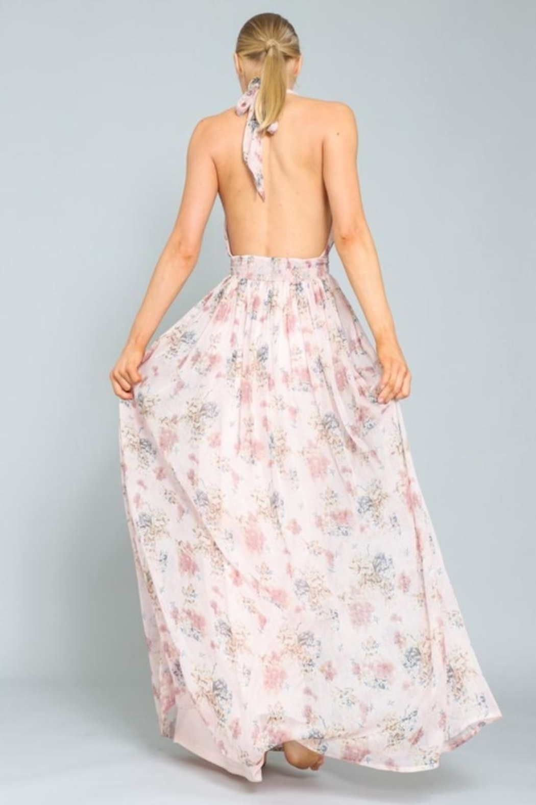 AAKAA Floral Halter Maxi - Side Cropped Image