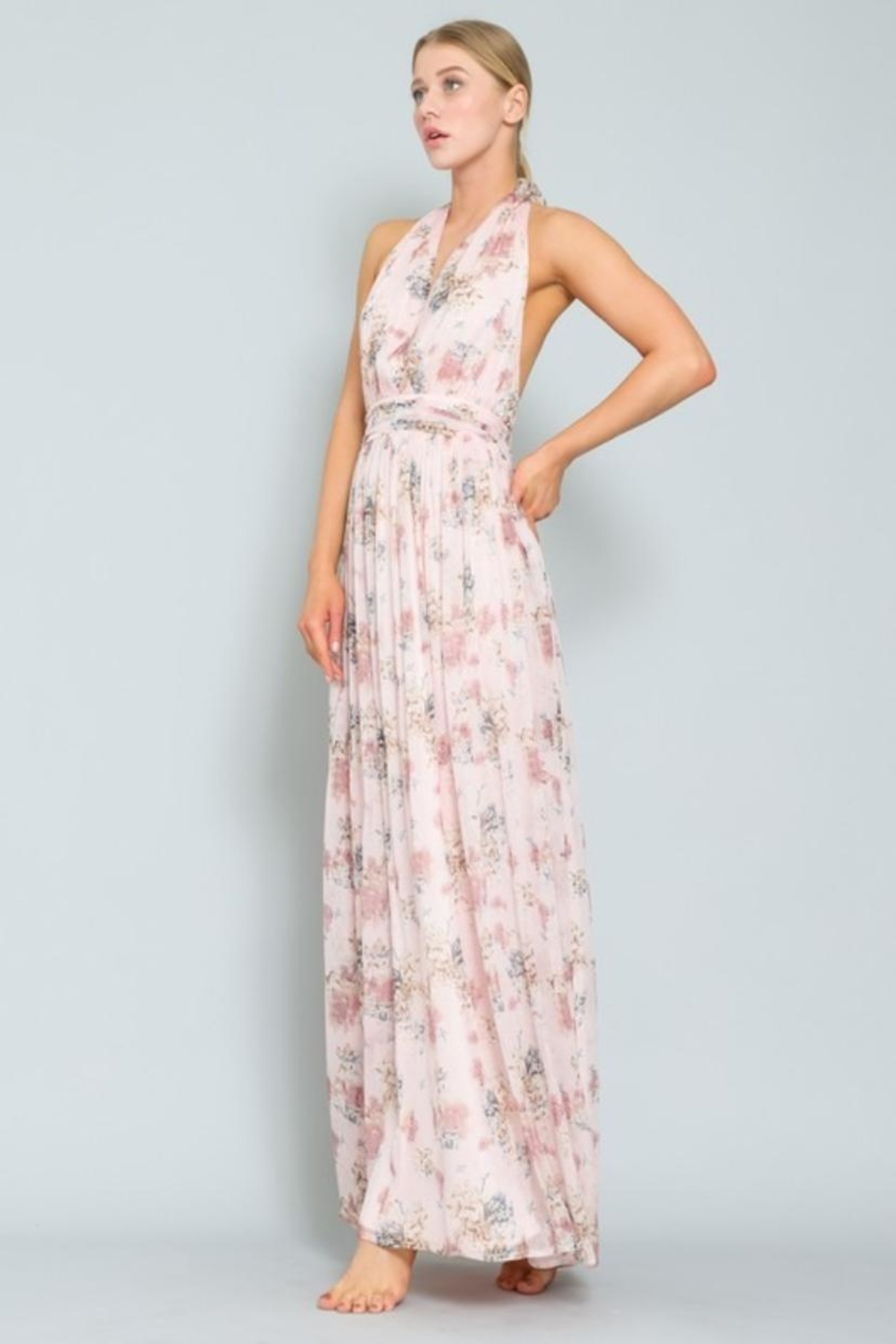 AAKAA Floral Halter Maxi - Front Full Image