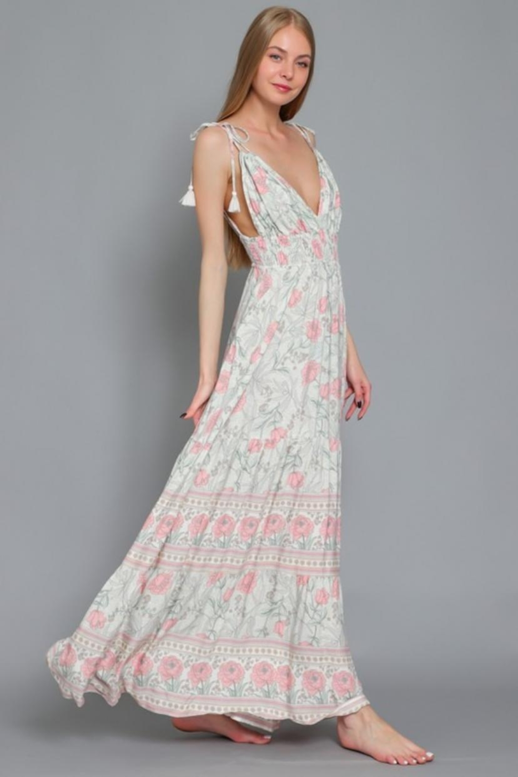 AAKAA Floral Maxi Dress - Front Full Image