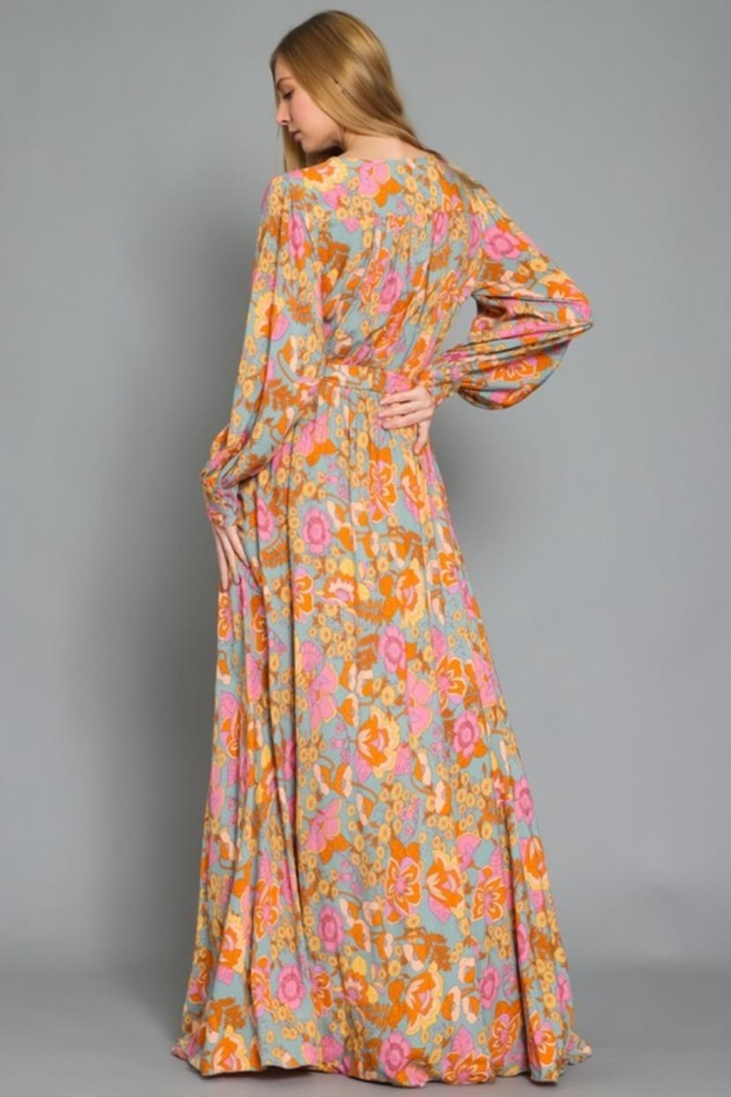 AAKAA Floral Maxi Dress - Side Cropped Image