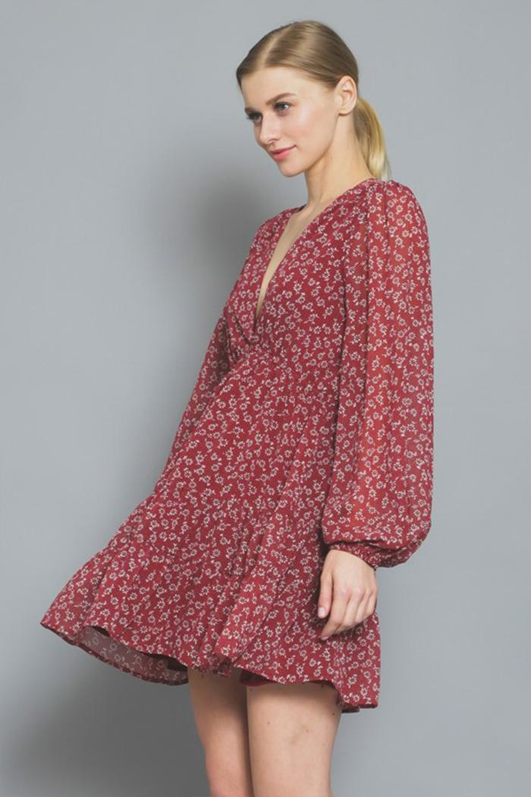 AAKAA Floral Mini Dress - Side Cropped Image