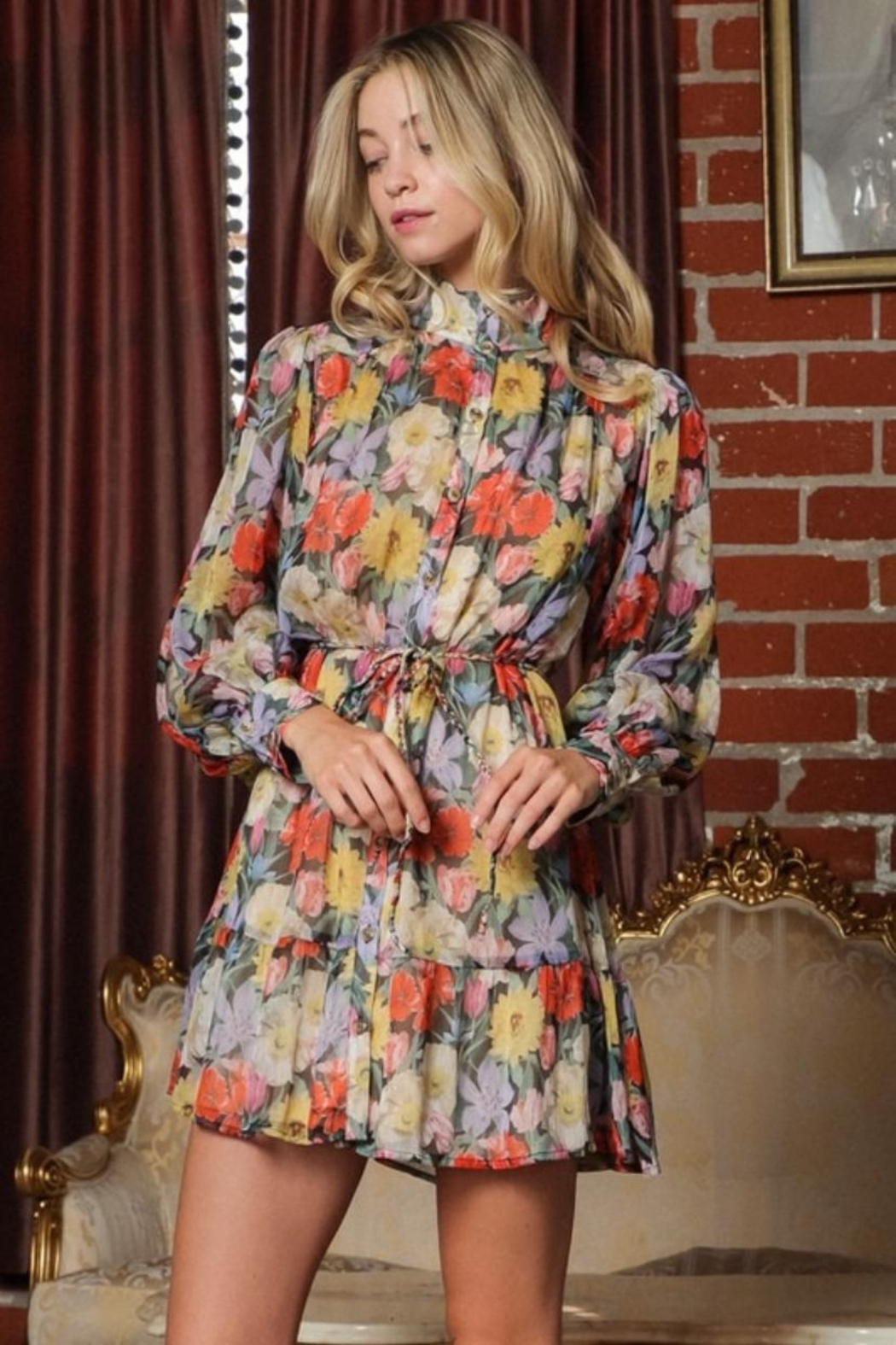 AAKAA Floral Mini Dress - Front Full Image