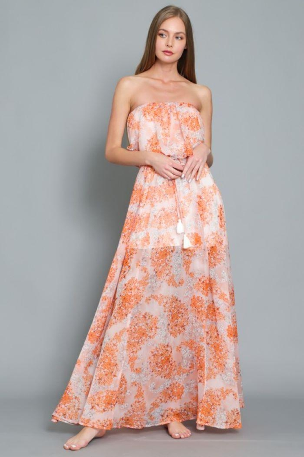 AAKAA Floral Print Maxi Dress - Back Cropped Image