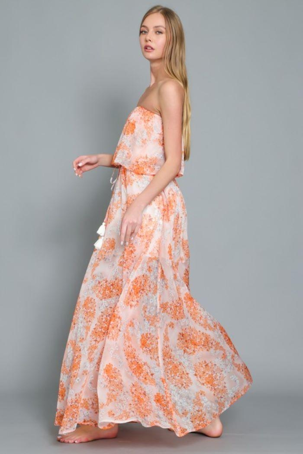 AAKAA Floral Print Maxi Dress - Front Full Image