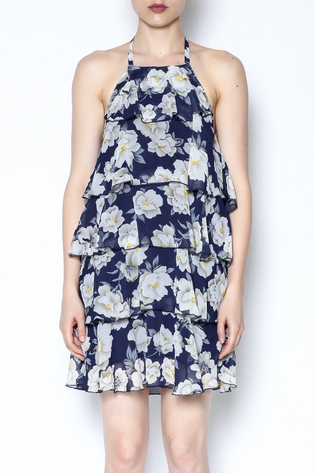AAKAA Floral Spaghetti Strap Dress - Front Full Image