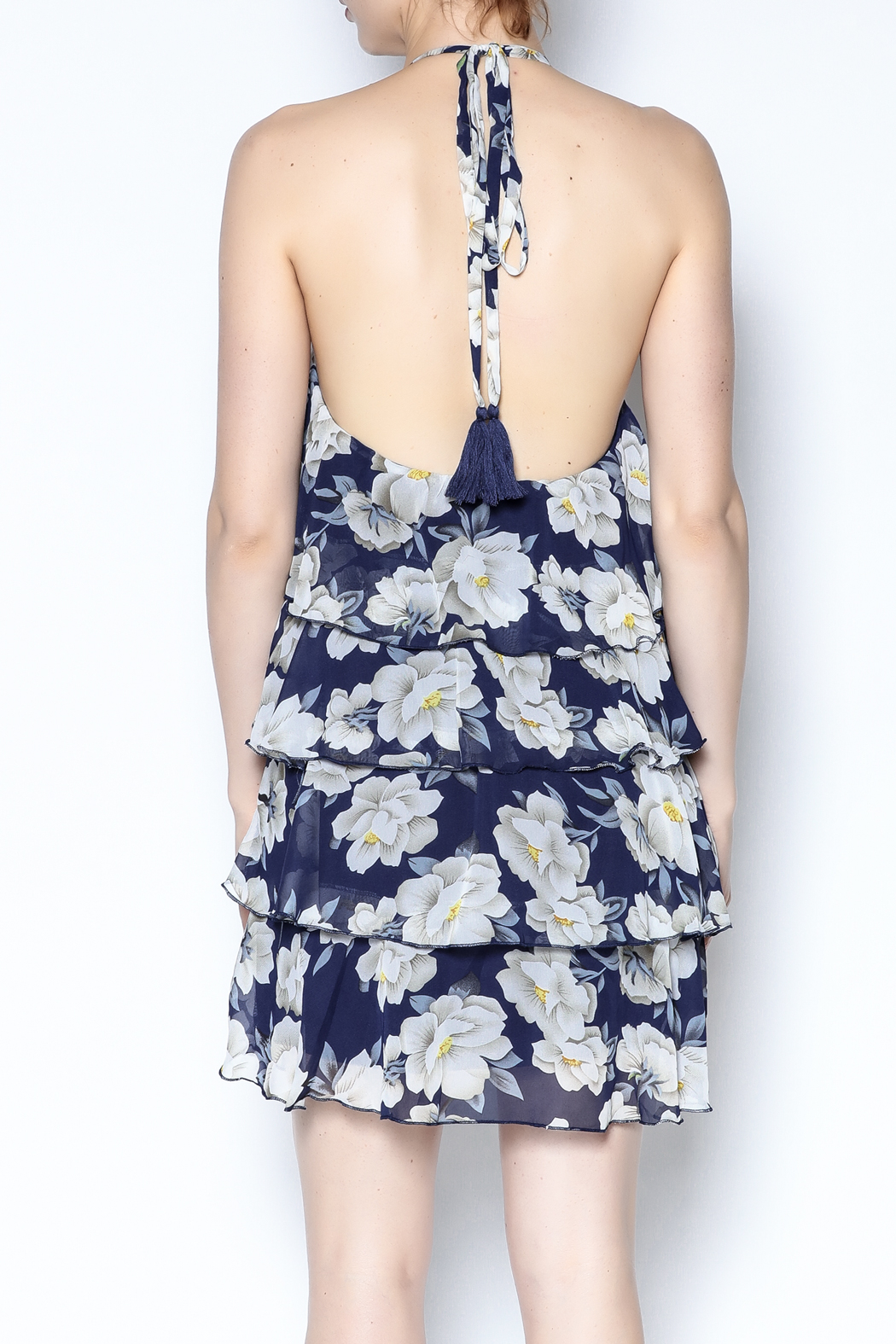 AAKAA Floral Spaghetti Strap Dress - Back Cropped Image