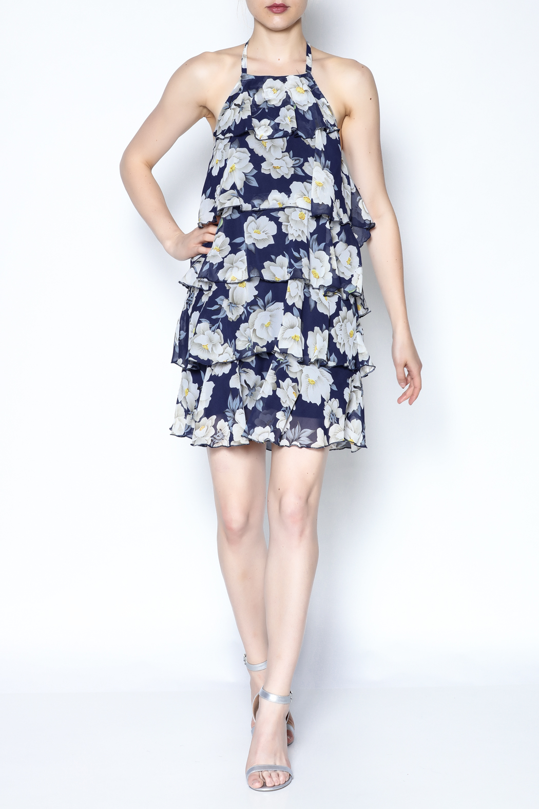 AAKAA Floral Spaghetti Strap Dress - Side Cropped Image