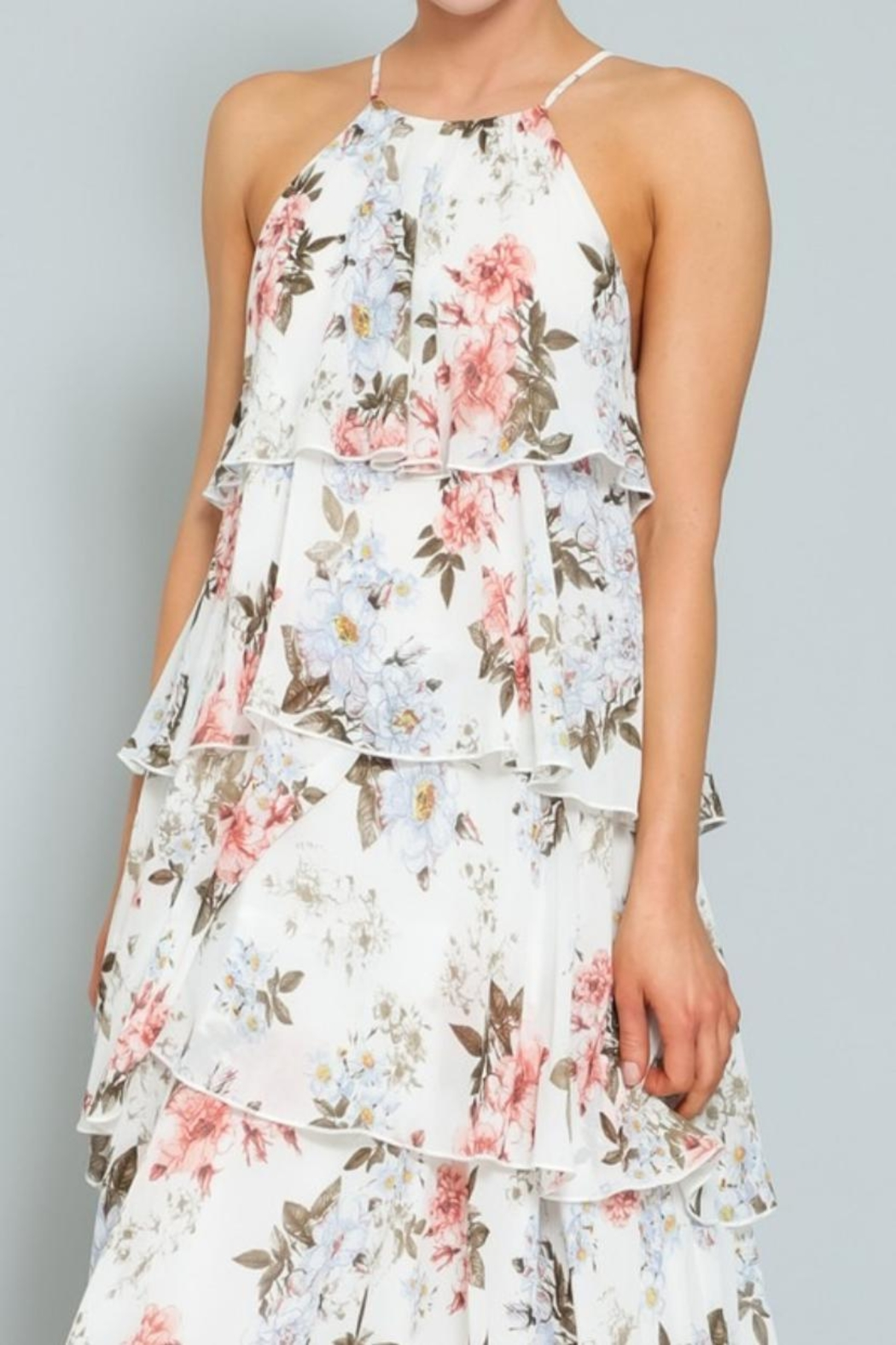 AAKAA Floral Tiered Maxi - Side Cropped Image