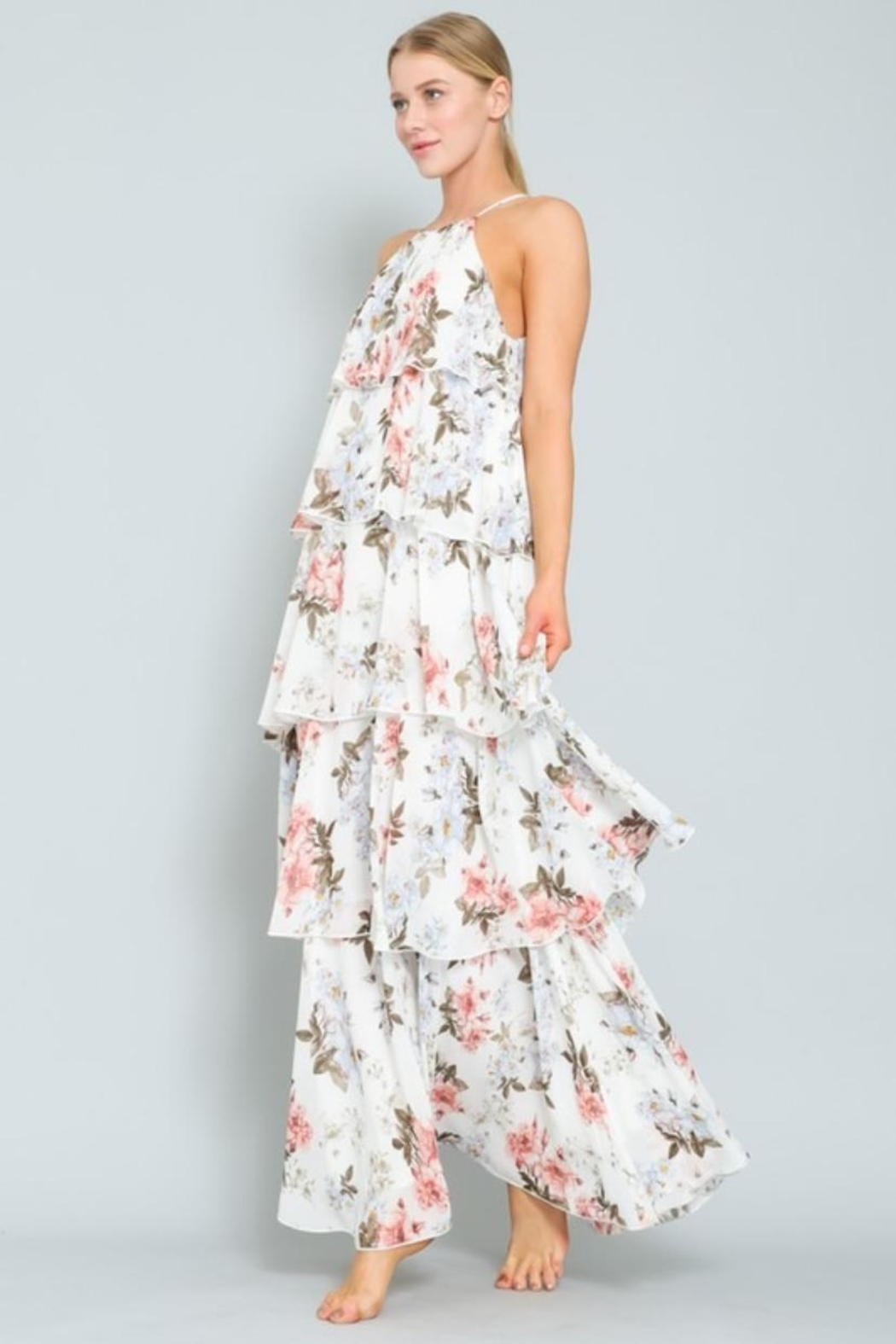 AAKAA Floral Tiered Maxi - Front Full Image