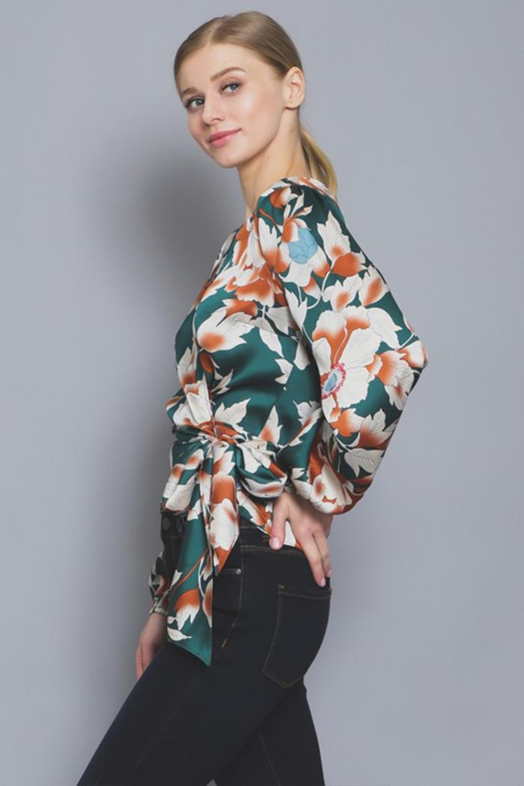 AAKAA Floral Wrap Blouse - Back Cropped Image