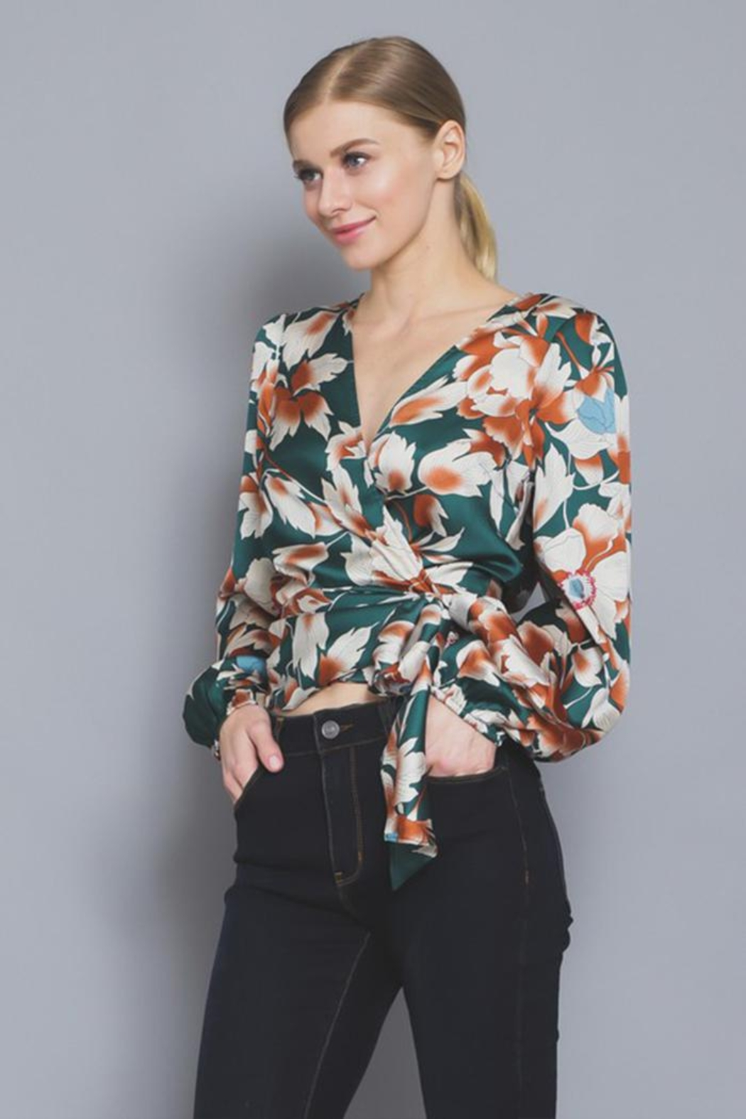 AAKAA Floral Wrap Blouse - Side Cropped Image