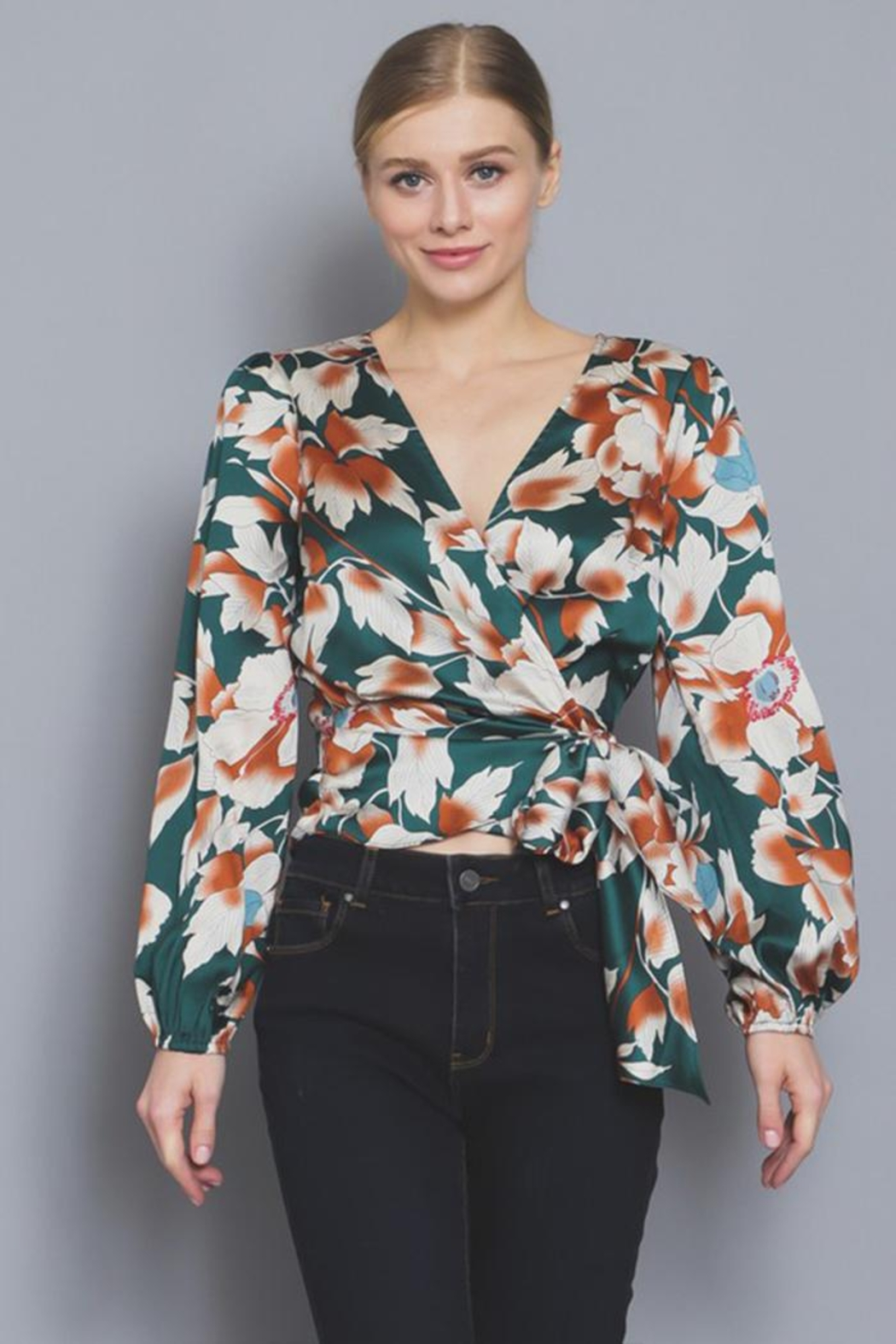 AAKAA Floral Wrap Blouse - Front Full Image