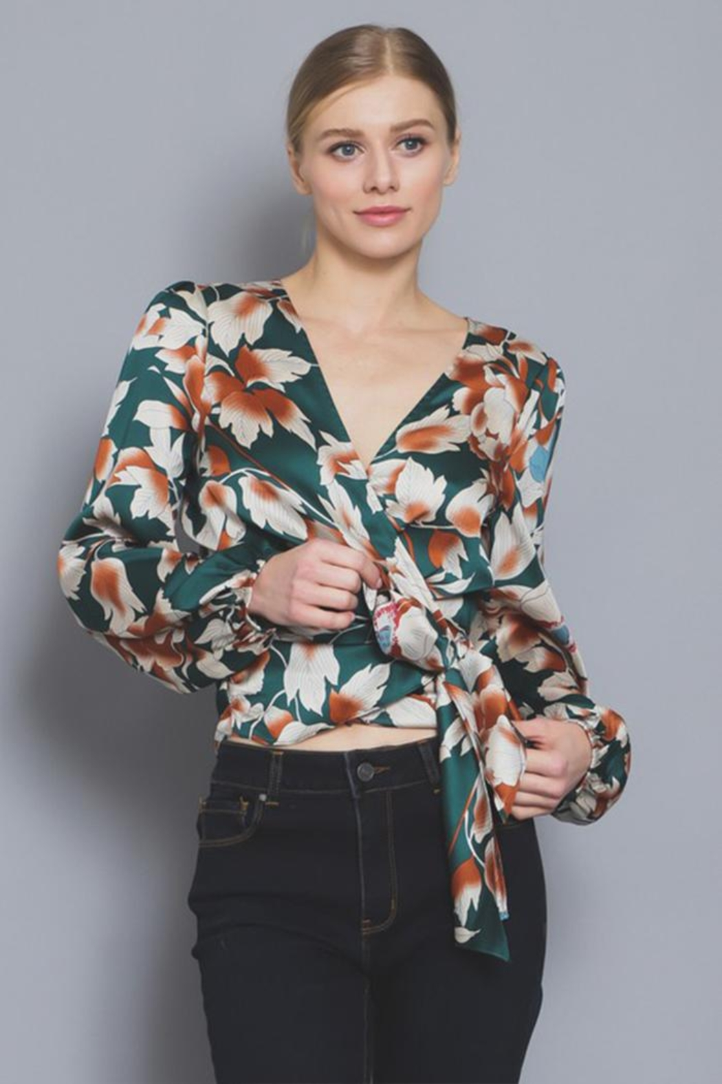 AAKAA Floral Wrap Blouse - Main Image