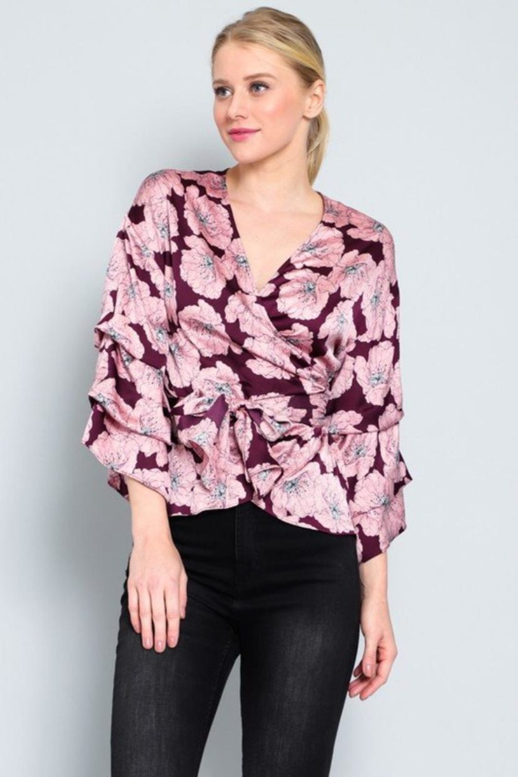 AAKAA Floral Wrap Top - Front Full Image