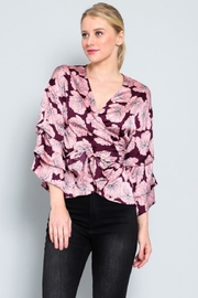 AAKAA Floral Wrap Top - Front full body